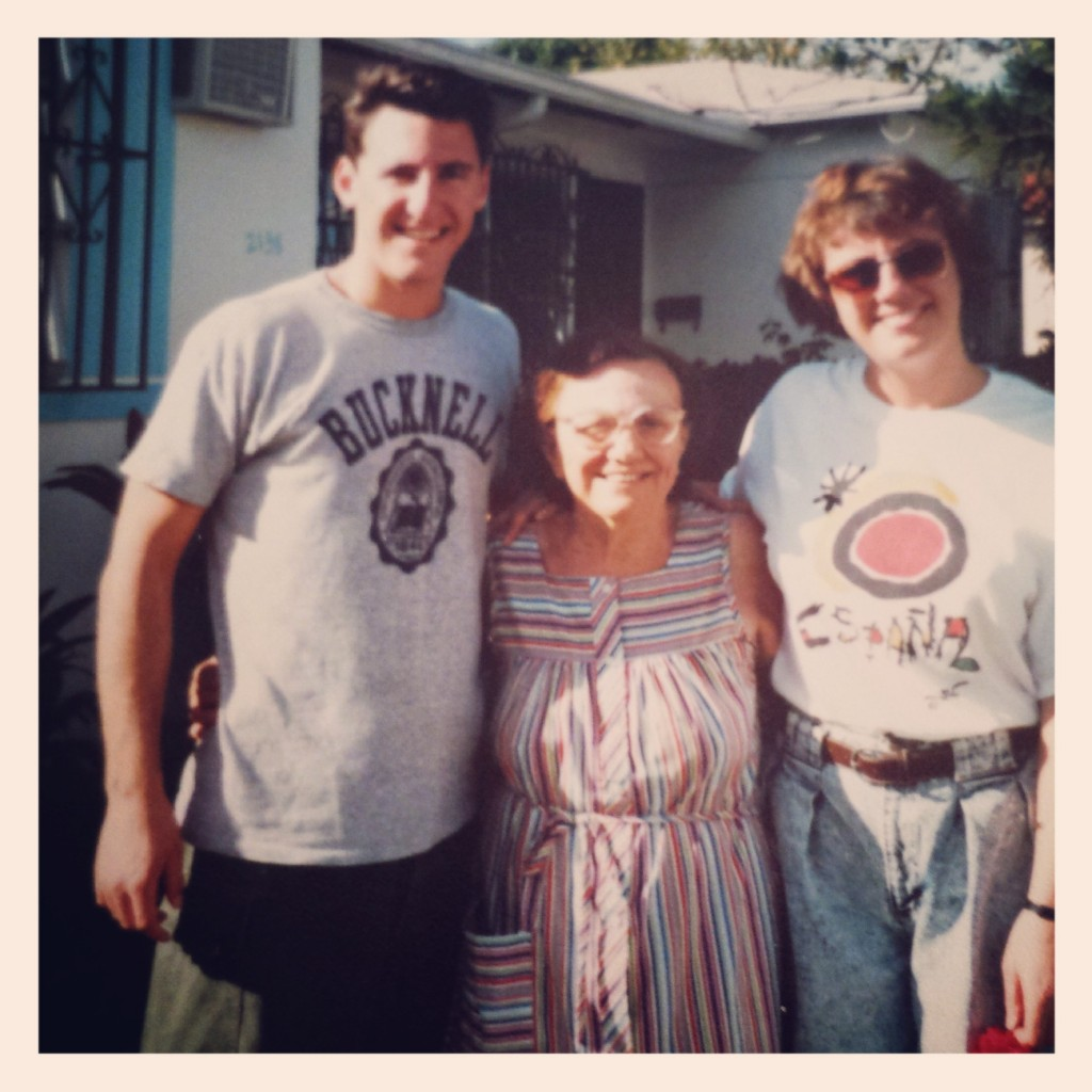 My brother, YiaYia, and I outside her Little Havana home (please excuse the acid washed jean shorts, it was the late '80's!)