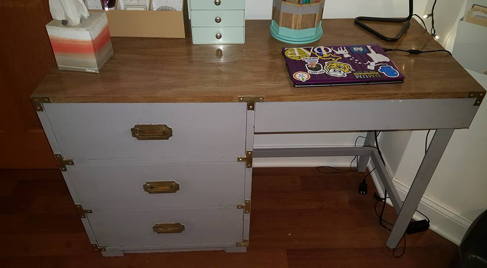 AFTER. Desk scored at Treasure Mart for $50. Brass hardware shined up and drawers painted grey.